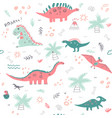 seamless childish pattern with colorful dinosaurs vector image