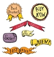 set of badge label ribbon doodle hand drawing vector image vector image