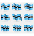 Set of Botswana flags in the air vector image vector image