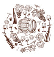 set of sketch wine icons in circle shape vector image vector image