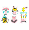 set of summer handdrawn labelslogostagselements vector image vector image