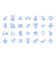 set toys icons on white background line style vector image vector image