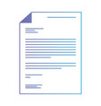 sheet document in degraded purple to blue contour vector image vector image