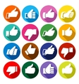 Thumbs up set on round buttons vector image vector image