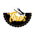 tires banner with spanner screwdriver and tyre vector image vector image