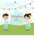 traditional thai couple in songkran or water vector image vector image