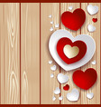 valentine with hearts on wooden background vector image vector image