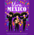 viva mexico poster with mariachi band vector image