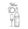 wine set wine glass bottle grape branch vector image vector image