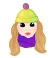 Winte cartoon girl with snowlake on her nose vector image