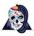 womans head with half face skull engraved vector image vector image