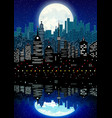 silhouette of city and night sky with reflection vector image