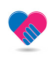 agreement handshake formed in a heart icon vector image vector image