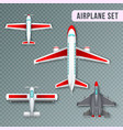 airplane top view set vector image vector image