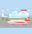 airport with plane on runway ready to take off vector image vector image