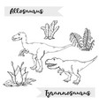 allosaurus and tyrannosaurus with plant and vector image vector image