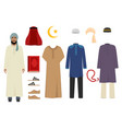arabic man clothes national islamic fashion of vector image
