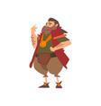 barbarian leader medieval historical cartoon vector image