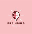 brain lamp bulb logo icon vector image vector image