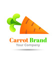 carrot with green rabbit ears Colorful 3d Volume vector image vector image