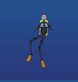 cartoon scuba diver holding camera and taking vector image vector image