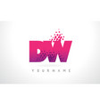 dw d w letter logo with pink purple color and vector image vector image