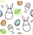 easter seamless with rabbit and eggs vector image vector image