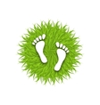 Eco Friendly Footprints on Green Grass vector image vector image