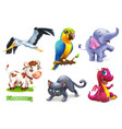 funny animals 3d icon set stork parrot elephant vector image