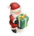 gift box cute isometric 3d christmas santa claus vector image vector image