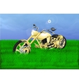 gold chopper on a green meadow vector image vector image