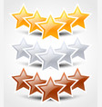 gold silver and bronze stars compositions of stars vector image vector image