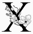 hand drawn floral uppercase x monogram and vector image