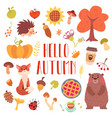 hello autumn cute animals and attribute set vector image vector image
