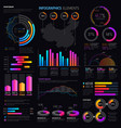 infographics elements with graphs and charts vector image