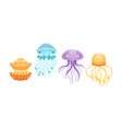 jellyfish collection beautiful swimming sea or vector image vector image