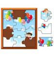 jigsaw puzzle pieces of kids flying with balloons vector image vector image