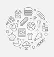 junk food circular outline vector image
