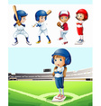 Kids playing baseball in the field vector image vector image