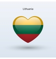 Love Lithuania symbol Heart flag icon vector image