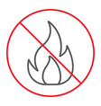 no fire thin line icon prohibition and forbidden vector image vector image