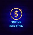 online banking neon label vector image vector image