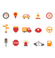 orange and red color traffic icons set vector image
