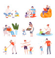 parents and kids spending time together at home vector image vector image