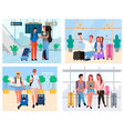 passenger in airport tourists with baggage vector image vector image