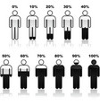 percentage people infographic icons vector image vector image