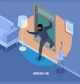 robbery isometric composition vector image