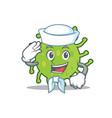 sailor green bacteria character cartoon vector image vector image