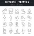 set line icons preschool education vector image