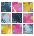set nine abstract backgrounds with hand drawn vector image vector image